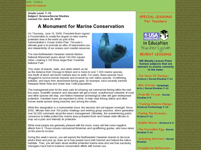 A Monument for Marine Conservation Lesson Plan