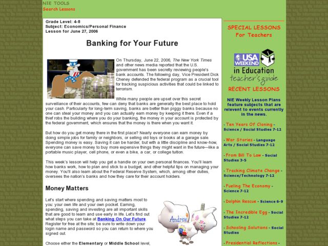 Banking for Your Future Lesson Plan