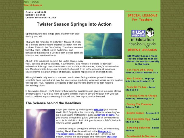 Twister Season Springs into Action Lesson Plan