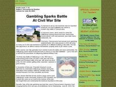 Gambling Sparks Battle at Civil War Site Lesson Plan