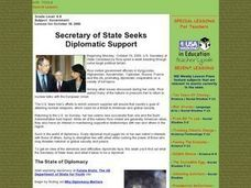 Secretary of State Seeks Support Lesson Plan
