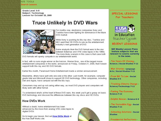 Truce Unlikely In DVD Wars Lesson Plan
