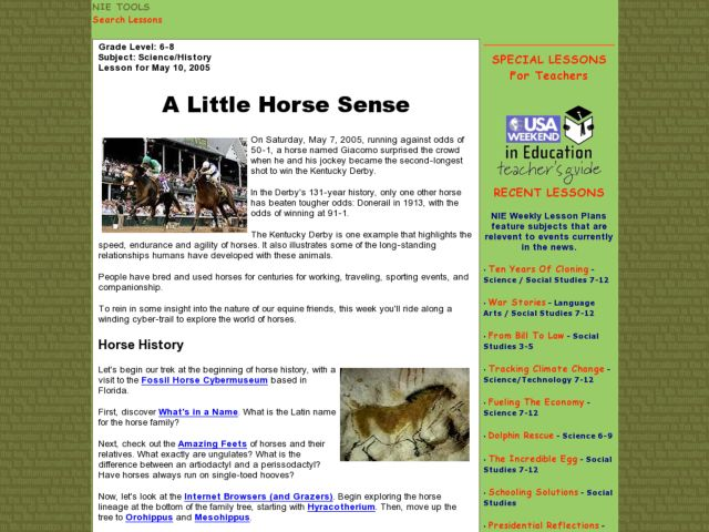 A Little Horse Sense Lesson Plan