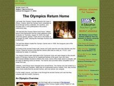 The Olympics Return Home Lesson Plan
