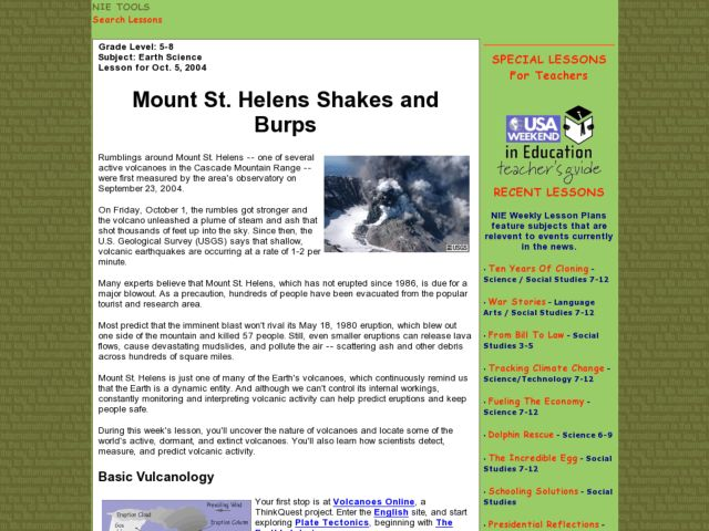 Mount St. Helens Shakes and Burps Lesson Plan
