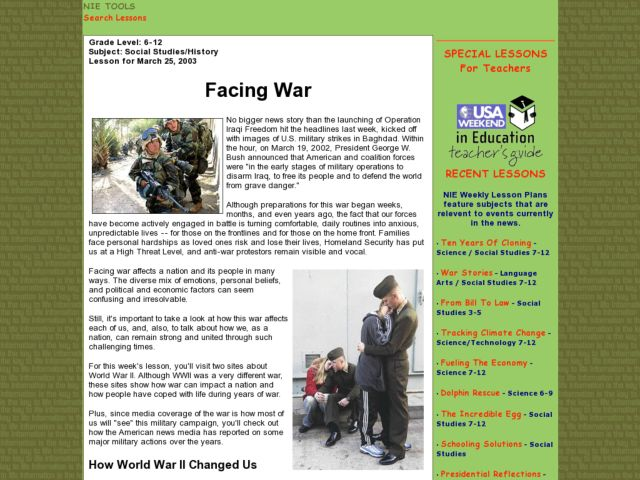 Facing War Lesson Plan