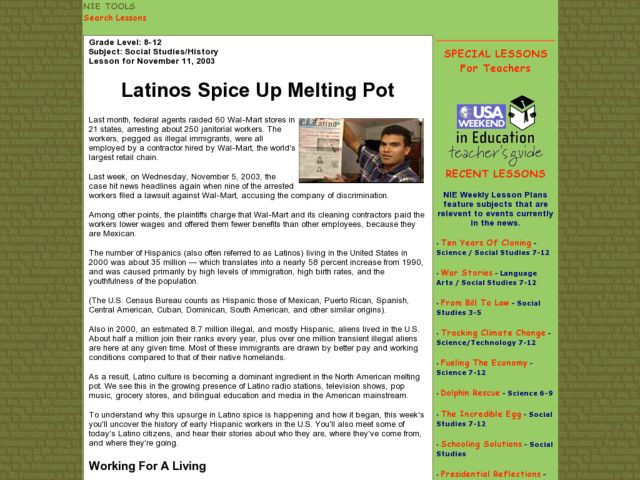 Latinos Spice Up Melting Pot Lesson Plan