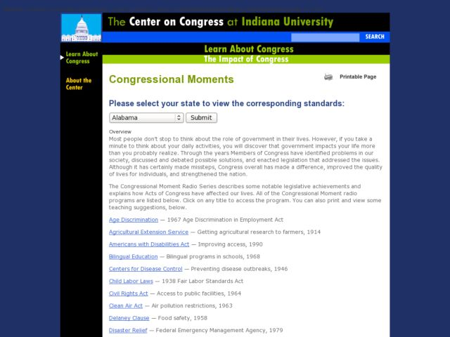 Congressional Moments Lesson Plan