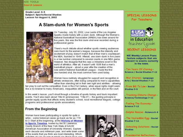 A Slam-dunk for Women's Sports Lesson Plan