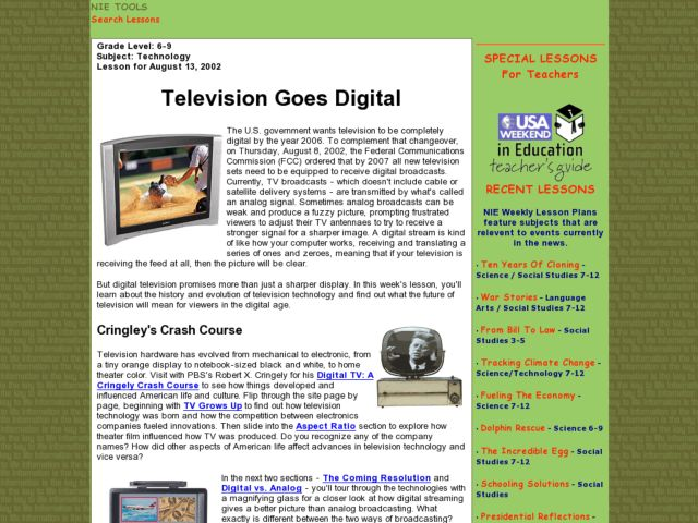 Television Goes Digital Lesson Plan
