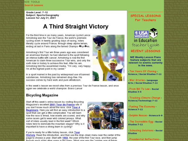 A Third Straight Victory Lesson Plan