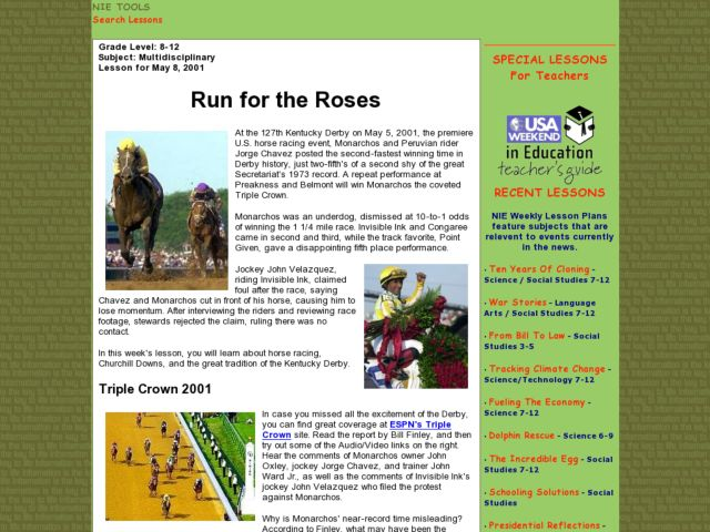 Run for the Roses Lesson Plan