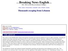 Thousands Escaping From Lebanon Worksheet
