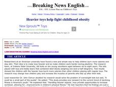 Heavier Toys Help Fight Childhood Obesity-Easier Lesson Worksheet