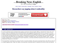 Researchers Say Jogging Alone is Unhealthy-Harder Lesson Worksheet