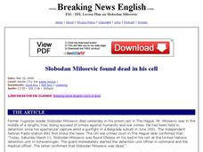 Slobodan Milosevic Found Dead in His Cell-Harder Lesson Worksheet