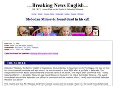 Slobodan Milosevic Found Dead in His Cell-Easier Lesson Worksheet