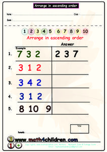 Arrange in Ascending Order Worksheet