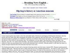 Hip-hop is History at American Museum-Easier Lesson Worksheet