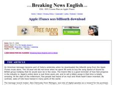 Apple iTunes Sees Billionth Download-Easier Lesson Worksheet