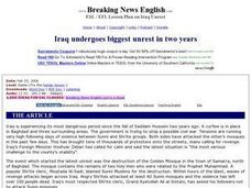 Iraq Undergoes Biggest Unrest in Two Years Worksheet