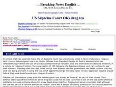 US Supreme Court OKs Drug Tea-Harder Lesson Worksheet