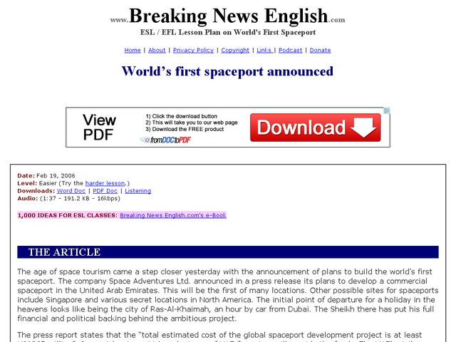 World's First Spaceport Announced-Easier Lesson Worksheet