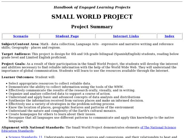 Small World Project Lesson Plan