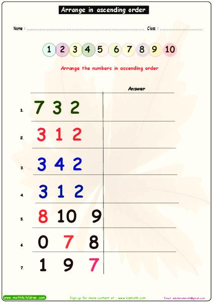 Arrange in Ascending Order Worksheet for Pre-K - 1st Grade ...