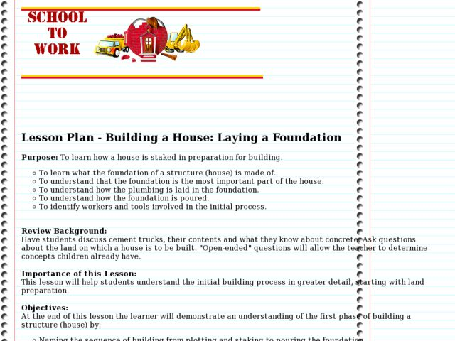 Building a House: Laying a Foundation Lesson Plan