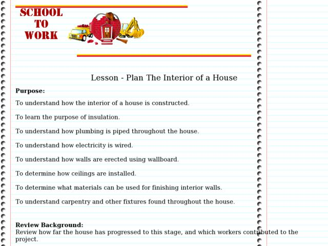 Plan The Interior of a House Lesson Plan