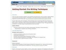 Getting Started: Pre-Writing Techniques Lesson Plan