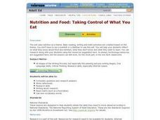 Nutrition an Food: Taking Control of What You Eat Lesson Plan