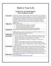 Math in Your Life Lesson Plan