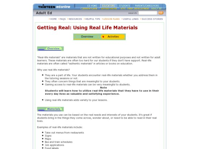 Getting Real: Using Real Life Materials Lesson Plan