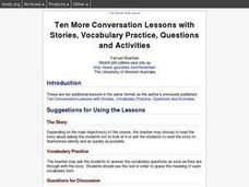 Ten More Conversation Lessons with Stories, Vocabulary Practice, Questions and Activities Lesson Plan