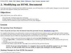 Modifying an HTML Document Lesson Plan