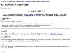 Special Characters Lesson Plan