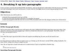 Breaking It Up Into Paragraphs Lesson Plan