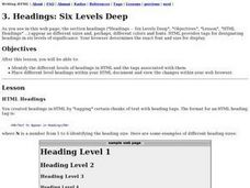 Headings: Six Levels Deep Lesson Plan