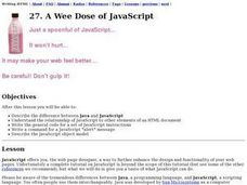 A Wee Dose of JavaScript Lesson Plan