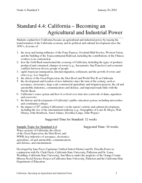 California-Becoming an Agricultural and Insustrial Power Lesson Plan