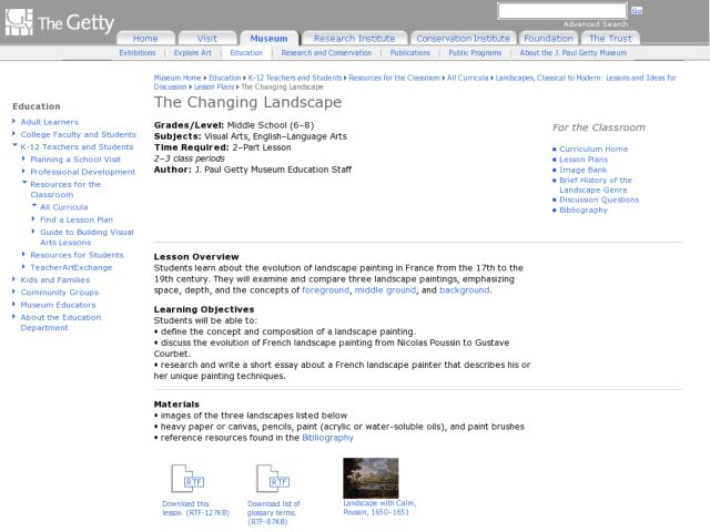 The Changing Landscape Lesson Plan