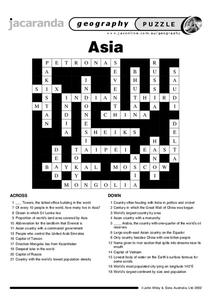 Asia Crossword Worksheet