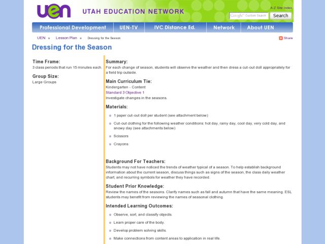 Dressing for the Season Lesson Plan