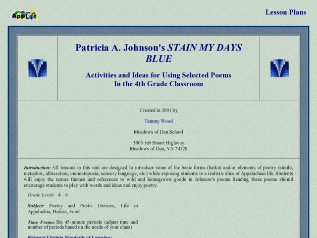 Stain My Days Blue Lesson Plan