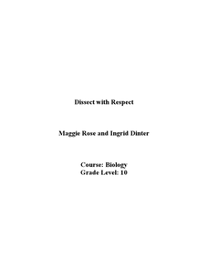 Dissect with Respect Lesson Plan