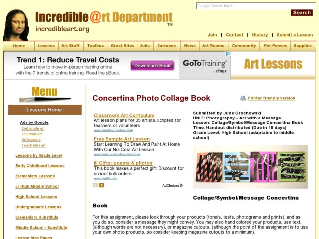Collage/Symbol/Message Concertina Book Lesson Plan