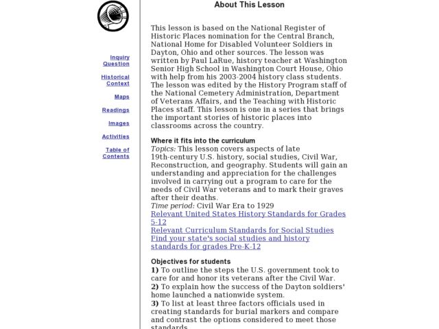 National Home for Disabled Volunteer Soldiers i Lesson Plan