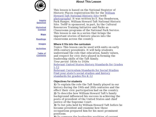 William Howard Taft National Historical Site Lesson Plan